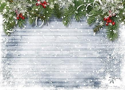 LYWYGG 7x5ft Fondo de Pared de Madera Fotografía de Navidad Contextos para fotógrafos White Snow Photo