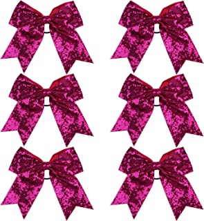 Metallic Sequin and Holographic 8 Inch Cheer Bow Cheerleader Cheerleading Jumbo Cheer Bow Hair Tie (Hot Pink Sequin)