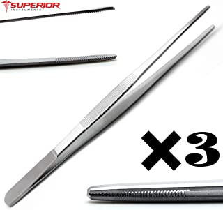 3 Pcs Dressing Thumb Forceps 8 Inch Tissue Tweezer 2.6cm Serrated Tip Stainless Steel Superior Instruments