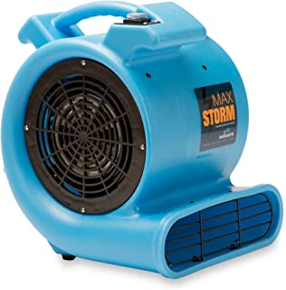 Max Storm 1/2 HP Durable Lightweight Air Mover Carpet Dryer Blower Floor Fan for Pro Janitorial Cleaner, Blue