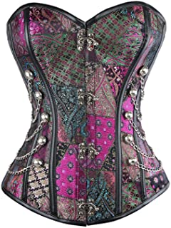 631b87a1f63 Charmian Women s Spiral Steel Boned Steampunk Gothic Bustier Corset with  Chains