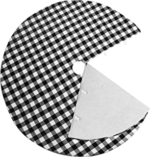 CCBOAY Christmas Tree Skirt 48 inch Large, Black and White Plaid Buffalo with Felt Fabric Lining, Checked Tree Mat for Xmas Holiday Party Decorations
