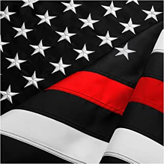 DANF Thin Red Line Flag 3x5 ft Made from Nylon - Embroidered Stars - Sewn Stripes - UV Protection Black White and Red American Police Flag Honoring Law Enforcement Officers