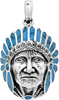 Native American Style Simulated Turquoise .925 Sterling Silver Pendant