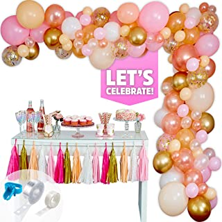 GUBAARA Pink and Rose Gold Balloon Garland Kit 16Ft 123 Pcs Balloon Arch for Birthday Party, Wedding, Baby Shower Decorations (Assorted Pink and Gold Balloons, White, Rose Gold Confetti Balloons)