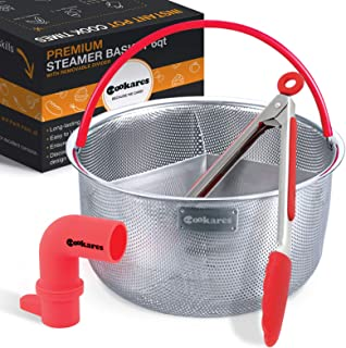 Steamer Basket for Instant Pot Accessories With Divider Instapot fits duo plus ultra Ninja Foodi 6 Qt 8 Quart Vegetable Pressure Cooker instant pot steamer Bonus Steam Release Accessory,Tong & eBook
