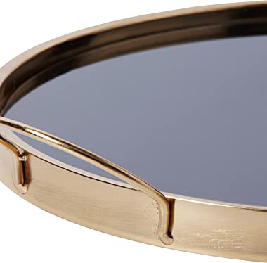 Amazon Brand – Rivet Contemporary Decorative Round Metal Serving Tray with Handles, 17.5 Inch, Black and Gold
