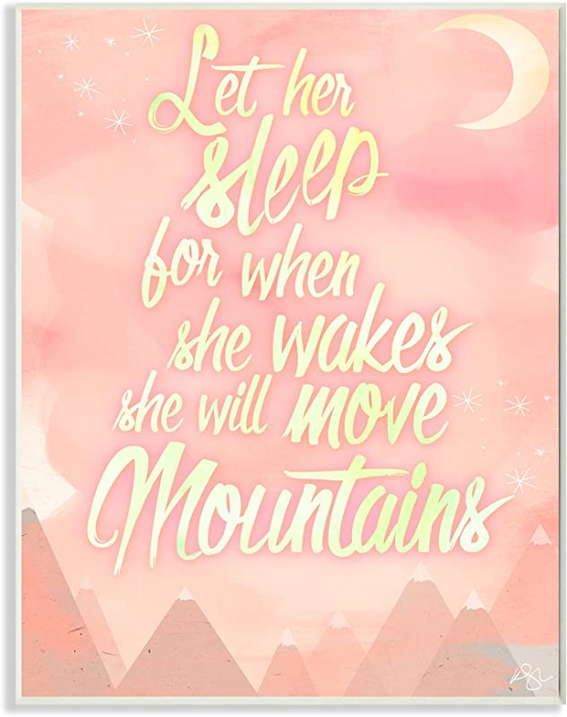 Stupell Home D Cor Let Her Sleep Pink Water Color Mountains Wall Plaque Art 10 X 0 5 X 15 Proudly Made In USA