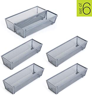 Smart Design Steel Metal Mesh Drawer Organizer w/Interlocking Ends - Utensils, Flatware, Organization - Kitchen (9 x 3 Inch) [Silver] - Set of 6