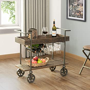 FirsTime & Co. Factory Row Industrial Farmhouse Bar Cart, American Crafted, Aged Black, 30 x 15 x 32.5 ,