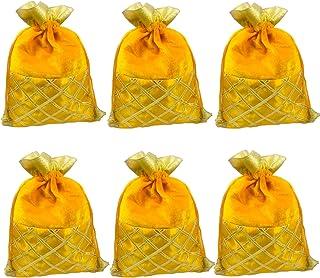 Evisha Women's 6 Pieces Yellow Velvet Satin Potli Bag -Size 25 x18 cm