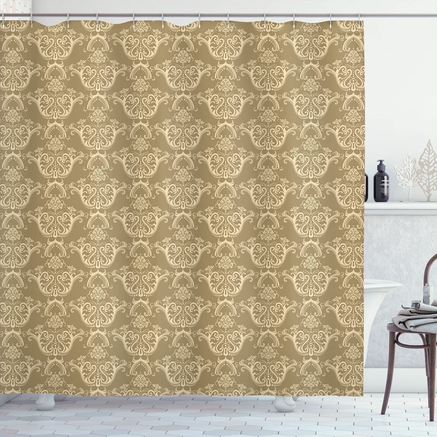 Lunarable Vintage Shower Curtain Dealing full price reduction Price reduction Rococo Damask Renais Victorian