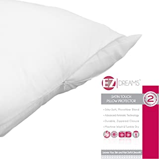 EZ Dreams Antistatic Zippered Pillow Protector: Satin Touch Microfiber, Queen Size (2)