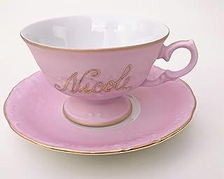 Tazza da te' rosa con nome dipinto a mano in oro 24 carati