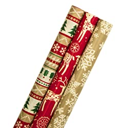 3 Roll Christmas Wrapping Paper Bundle from Hallmark - Kraft Based Designs