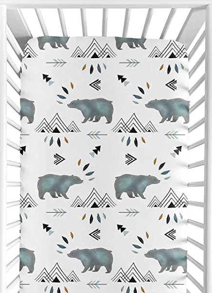Sweet Jojo Designs Baby Or Toddler Fitted Crib Sheet For Bear Mountain Watercolor Collection