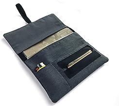 Pitillera para tabaco de liar GRIS, tabaquera de tela cierre goma, estuche con bolsillos para accesorios