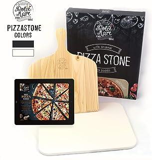 Dolce Mare® Pizza Stone - Piedra para Pizza de Cordierita Horno y la Parrilla - Ladrillo para Pizza crujiente como en el Caso de la Pizza Italiana - Incluye Deslizador para (Beige)