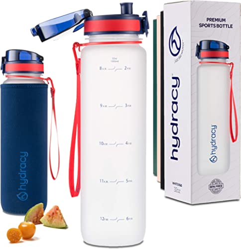 Hydracy Water Bottle with Time Marker - Large 1 Liter 32 Oz BPA Free Water Bottle - Leak Proof & No Sweat Gym Bottle ...