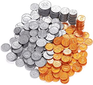 Pack of 250 Play Coin Set - Includes 10 Half-Dollars, 40 Quarters, 50 Dimes, 50 Nickels, 100 Pennies Fake Plastic Coins - Pretend Money - Great Teaching Tool, Prop, Kids Toy, 0.98 Inches in Diameter