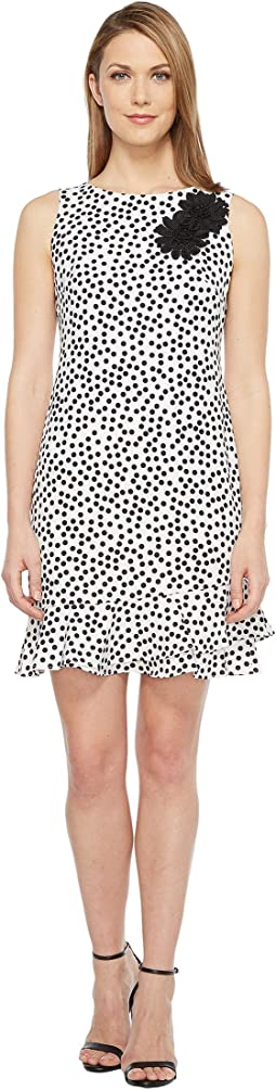 Stretch Crepe Polka Dot Flounce Sheath Dress