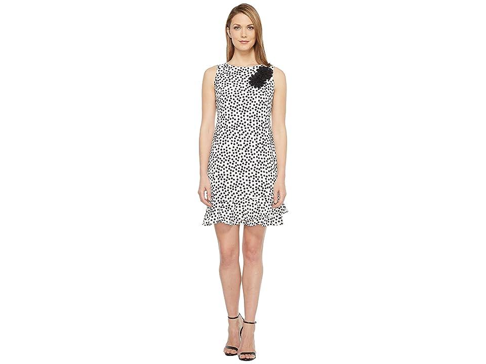 Taylor Stretch Crepe Polka Dot Flounce Sheath Dress (Ivory/Black) Women
