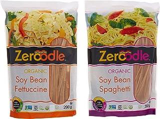 Zeroodle, Organic/Non GMO, Soy Bean, Black Bean, Mung Bean Fettuccine and Spaghetti Vegan Gluten Free Pasta Bundle Pack (2x7.05 oz.) (Soy Bean Pasta Bundle)
