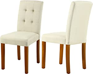 LSSBOUGHT Upholstered Dining Chair Parson Dining Chair with Solid Wood Legs, Set of 4, Beige