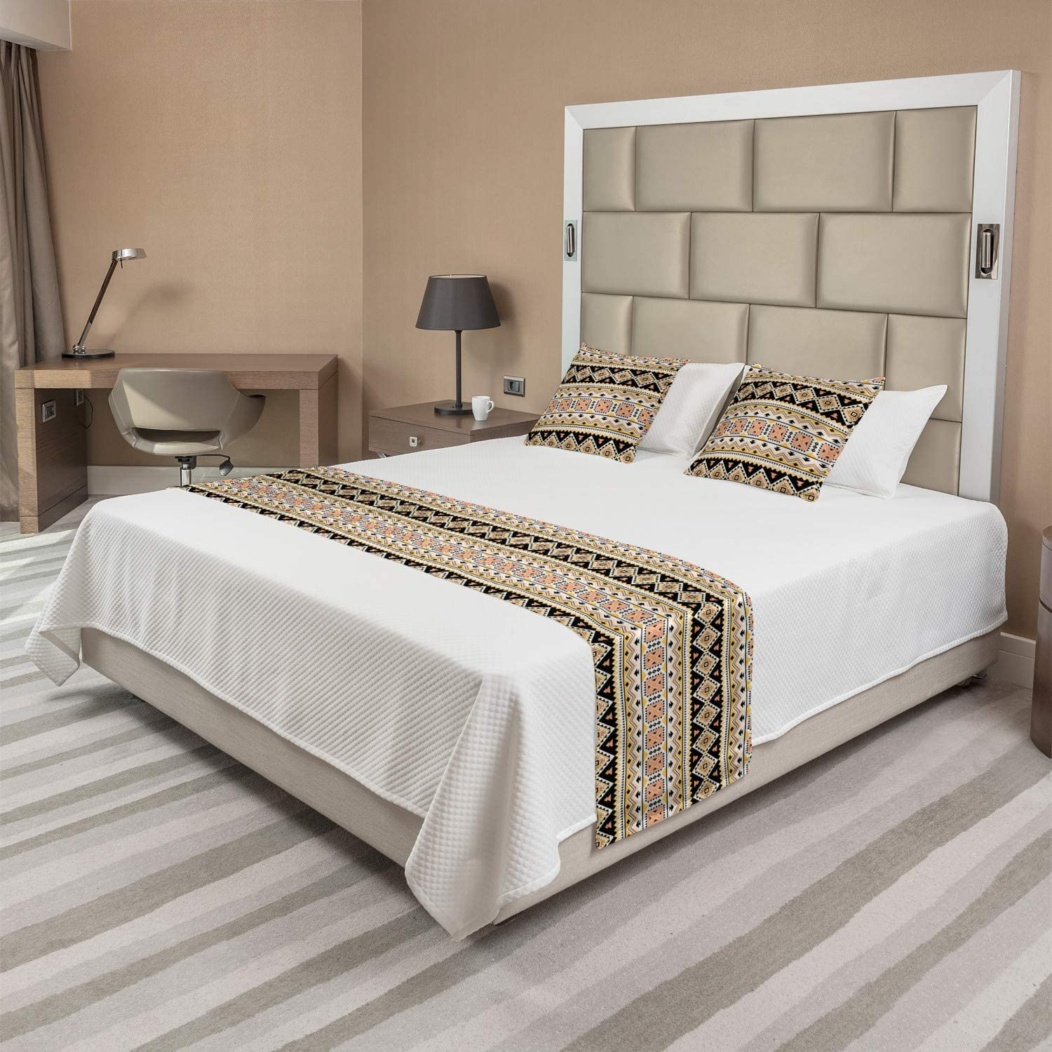 Ambesonne Aztec Bed Runner Set Abstract Ranking TOP17 Repeating Triangles Tri Free shipping on posting reviews