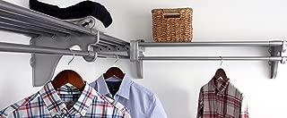 EZ Shelf - DIY Closet Organizer Kit - Expandable to 12.2 ft of Hanging & Shelf space - Silver
