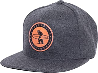 Everyday California 'Spreckels' Snapback Slate Grey Surf Hat - Flat Brim Baseball Cap With Vegan Leather Patch