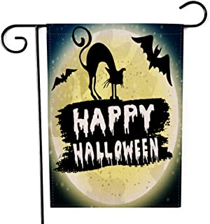 "Fiuqaomy Happy Halloween Bat Garden Flag Vertical Double Sized, Holiday Burlap Yard Outdoor Decoration 12.6"" 18.5"""