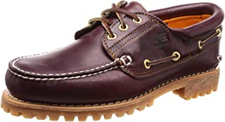 Timberland Men's Classic 3 Eye Lug Boat Shoe, Burgundy/Brown,10.5 W US