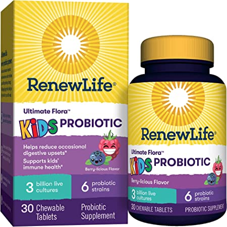 Renew life Kids Chewable Daily Probiotics – 3 Billion CFU - Berry Flavor – Digestive and Immune Support, Gluten, Dairy & Soy Free, 30 Chewable Tablets, (Packaging May Vary)-60 Day Money Back Guarantee