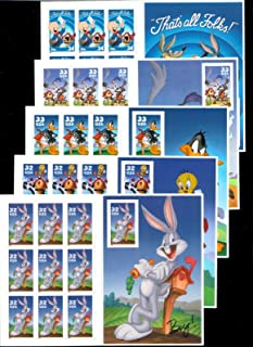 Looney Tunes Complete Set of 5 Sheets of 10 Stamps Each: Porky Pig, Wile E. Coyote and Road Runner, Daffy Duck, Sylvester and Tweety Pie, and Bugs Bunny