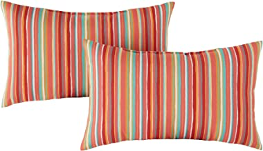 Greendale Home Fashions Set of 2 Outdoor 19x12-inch Rectangle Throw Pillows, Coral Stripe