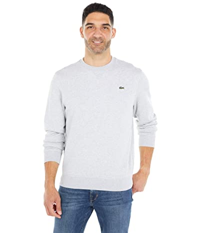 Lacoste Long Sleeve Solid Color Sweatshirt (Silver Chine/Elephant Grey) Men
