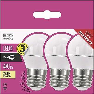EMOS Bombilla LED de 6 W / equivalente a una bombilla de 40 W / casquillo E27 / 470 lm / blanco cálido – 2700 K / Mini Glo...