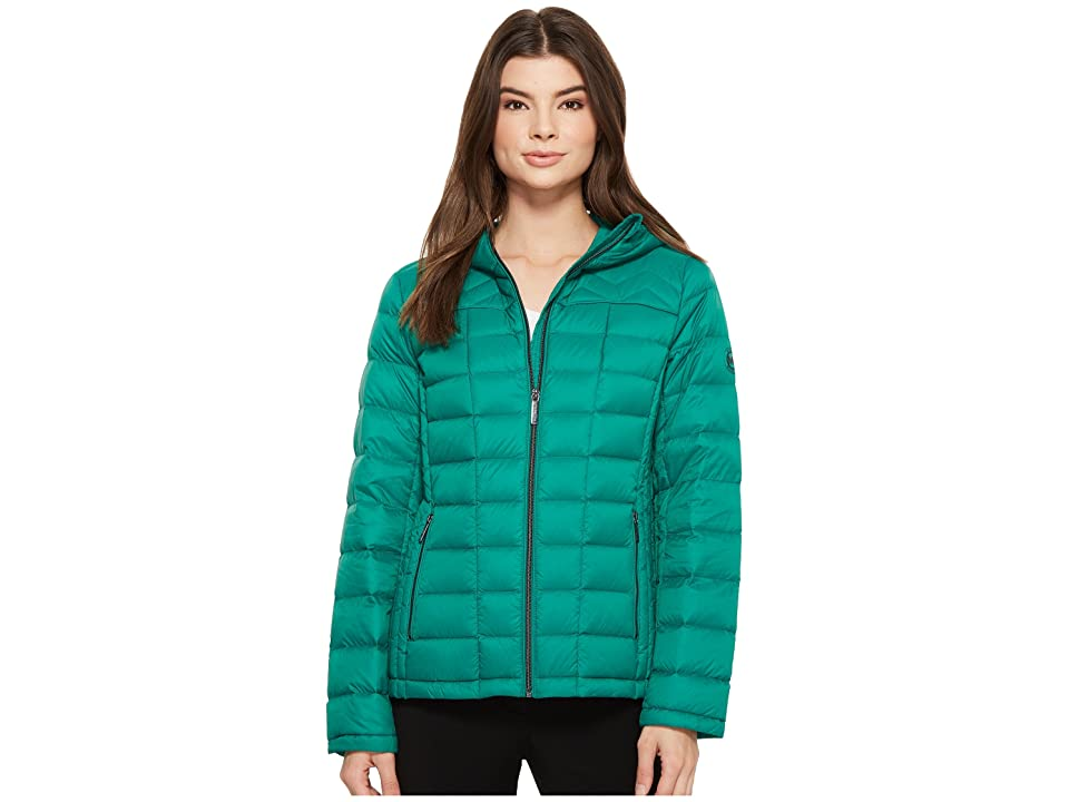 MICHAEL Michael Kors Zip Front Hooded Packable M823394F (Emerald) Women