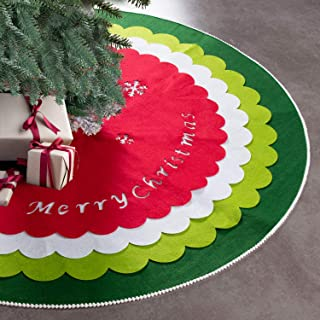 HAUMENLY Felt Fabric Christmas Tree Skirt, 4 Colorful Pieces Lace Trim Border, Tree Decoration for Xmas Holiday-48 Inches