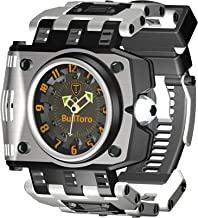 BullToro Men's casual 3-Hand Analog with large Stainless Steel Case and 60mm Bracelet - 0001