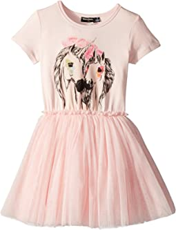 Unicorn Love Short Sleeve Circus Dress (Toddler/Little Kids/Big Kids)