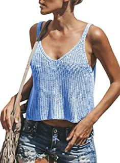 Dellytop Womens V Neck Sleeveless Sweater Spaghetti Strap Knit Tank Tops Crop Vest