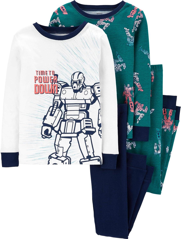 Carter's Boy's 4-Piece Snug Fit Cotton PJs (Navy/Teal/Robot