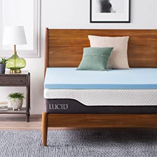 LUCID 2-Inch Ventilated Gel Infused Memory Foam Mattress Topper - Twin