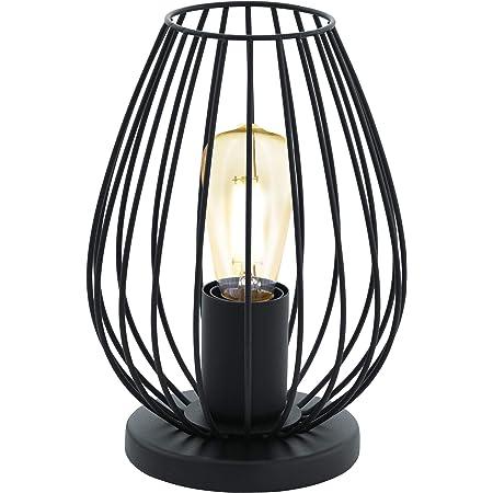 EGLO Lampe de Table Newtown, Lampe à Poser Vintage à Flamme, Lampe de Chevet en Acier et en Tissu, Couleur : Noir, Douille : E27, Interrupteur Inclus