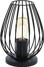 EGLO tafellamp NEWTOWN, 1 lichtbron vintage tafellamp, bedlampje van staal, kleur: zwart, fitting: E27, incl. schakelaar