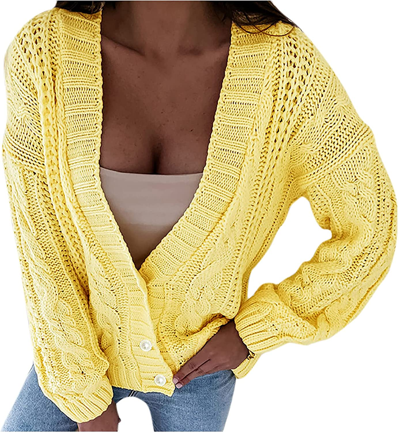 Wirziis Women's Front Button Down Cardigans Sexy Long Sleeve Crop Chunky Sweaters Oversized Cable Knit V-Neck Coat Tops