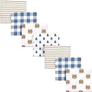 Hudson Baby Unisex Baby Cotton Flannel Receiving Blankets Bundle, Little Bear, One Size