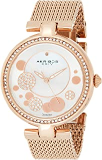 Akribos Xxiv Women's Quartz Watch, Analog Display and Stainless Steel Strap Ak881Rg, Rose Gold Band